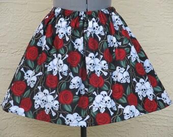 Skulls and Roses Skirt - Full Gathered Skirt