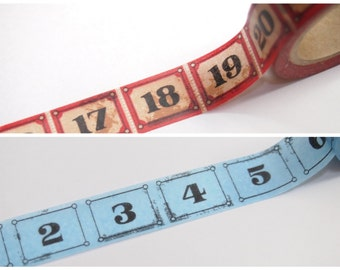 Numbers Washi Tape 15mm WT444 Vintage style