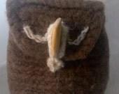 Elsie small crocheted felted owl wrist bag.