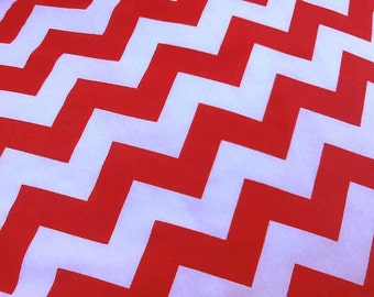 Red / White Large Chevron Cotton Fabric, One Yard (X60), more available