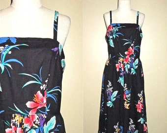 Vintage 80s sun dress BLACK HAWAIIAN cotton print - L