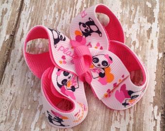 Panda bear hair clip, M2M gymbo panda academy, hot pink hair bow, panda bear print, girls matching gymboree bows, orange and pink hair bows