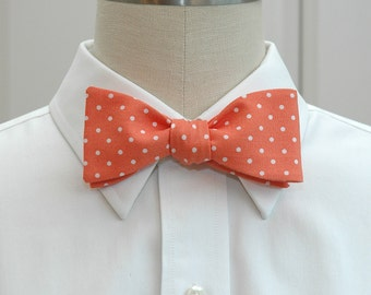 Men's Bow Tie in coral with white mini polka dots (self-tie)