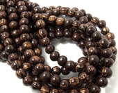 Patikan, Old Palmwood, Natural Wood Beads, Round, Smooth, 8mm, Small, Full Strand, 52pcs - ID 1413