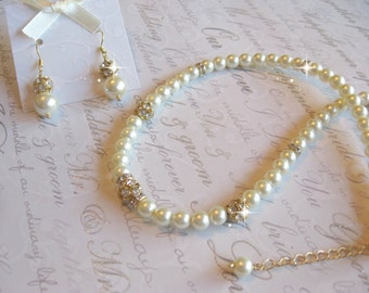 Swarovski Rhinestone and Pearl Gold Filled Necklace and Earring Set - Bride or Bridesmaid Jewelry Set/Wedding Jewelry