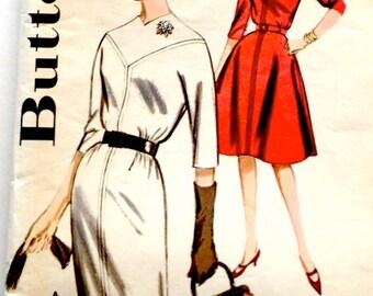 60s Butterick 9895 Yoked Slim or Full Skirt Dress Kimono Sleeves Size 16 Bust 36