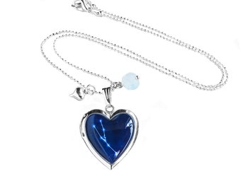 """Get 15% OFF - Double Sided - Handmade Resin """"Taurus"""" Constellation Sign Silver Heart-shape Locket Necklace - Labor Day SALE 2017"""