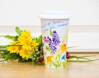 Personalized Ceramic Travel Mug - Made to Order Flower Eco-Cup - Garden flowers Coffee Cup - Romantic Gift - Mug with Lid