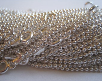 """Sterling Silver 1.5mm  .925 Italian Ball Chains 18"""" - Jewelry Supplies - 10 Chains- Bulk"""