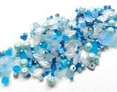 Aqua blue glass bead mix / bead soup