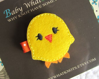 Yellow Chick Hair Clip, Baby Chick Hair Clippies, Girl Barrette, hcchick02