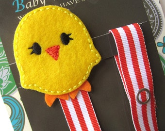 Yellow Chick Pacifier Clip, Chicken Pacifier Clip, Pacifier Holder, pcchick01
