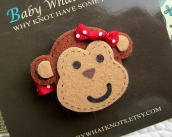Baby Hair Clip, Monkey Hair Clip, Baby Hair Clippies, Girl Barrette, hcmonkey02