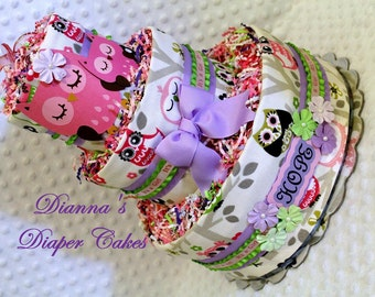 Baby Diaper Cake Owls Baby Shower Gift or Centerpiece