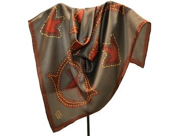 Ranch Wear Silk Scarf with Texas Stitching 32 in. Signed, Leaf  Lariat Shapes in Rust & Red Rust, Gold Stitches, Near Mint Condition
