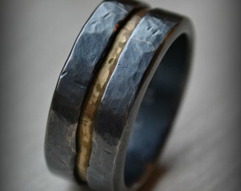 Mens wedding band, rustic fine silver and 14K yellow gold ring, handmade oxidized artisan designed wedding or engagement band - customized