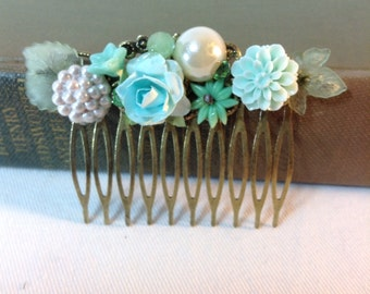Mint Hair Comb. Wedding. Chic Shabby. Cottage