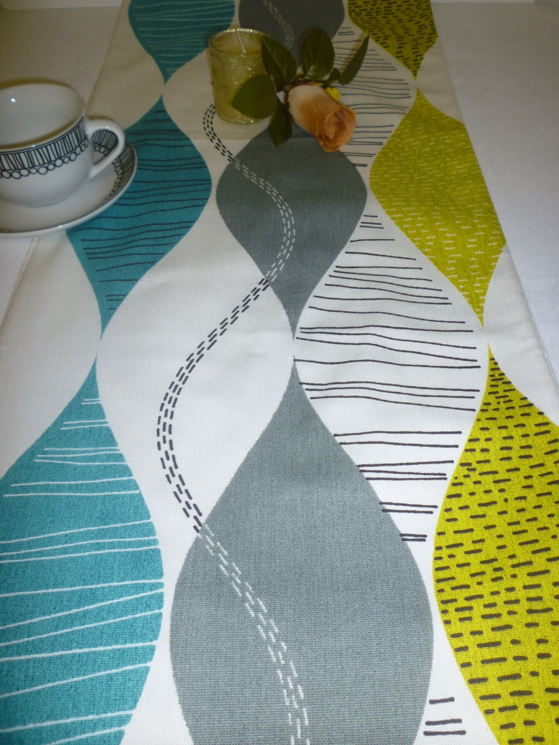 78 Retro Teal Table Runner Gray Green And White 6 Foot