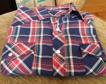 Vintage Mens Western Short Sleeved Shirt Plaid Mother Of Pearl Snaps Red Blue Green Summer Shirt Cotton Mens Shirt