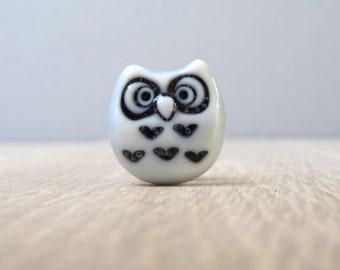 Curious little owl tie tac glazed pale blue handmade porcelain lapel pin miniature whimsical  mini art