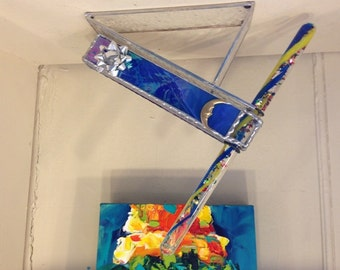 STAINED GLASS KALEIDOSCOPE gift glass art Magnificent celestial wand  gift Iridized Colbalt Blue home decor