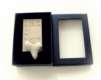 Unique Get Well Card - Personalized text - a natural Heart rock in a box