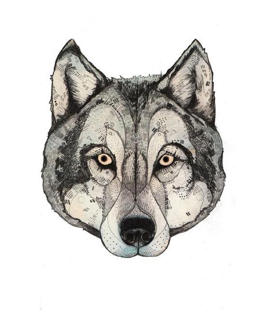 Wolf Maske A3 Drucken