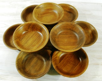 Ten Vintage Walnut Wood Salad Bowls