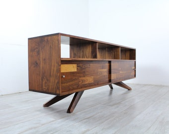 Mid Century Solid Walnut Divisadero Media/Record Console Sideboard Free Shipping and Delivery