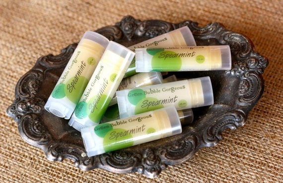 Natural Lip Butter, Spearmint-Extra Healing/Moisturizing lip balm, FREE SHIPPING by Green Bubble Gorgeous on etsy