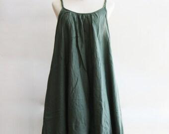 D10, Swan Jade Green Cotton Dress, green dress