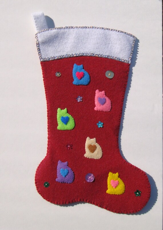 Finished customized sequined felt-applique Christmas stocking for your cat. Let me add your cat's name!