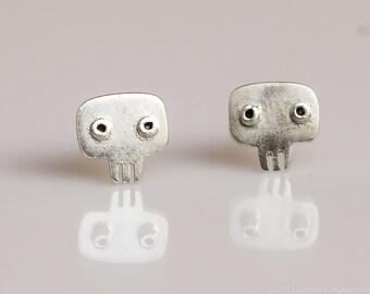 SKULL Stud Earrings Sterling Silver Mini Zoo