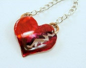 Red Broken Heart Pendant Necklace