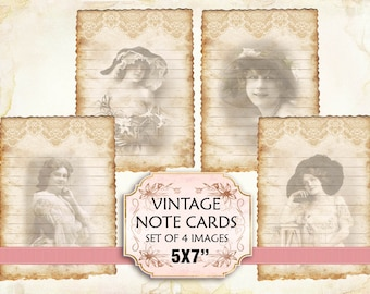 Vintage Woman Note Cards Shabby chic paper Scrapbook Decoupage 5x7 inch (395) set of 2 sheets