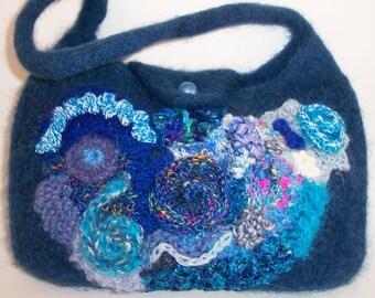 Hand knitted scrumble bag, handbag, underarm bag, mobile pocket, various yarns, button fastening
