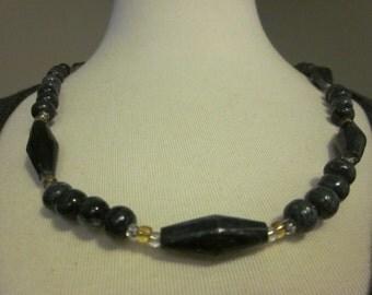 Vintage Dark Gray Stone Necklace