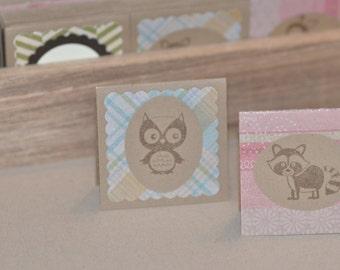Woodland Creatures Mini Cards, Kraft Cards with Owl, Bird, Squirrel, Rustic Card Set