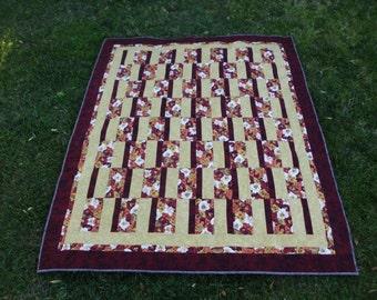 Pansy lap quilt rustic colors