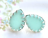 Mint Green Pear Silver Prong Rhinestone Post Earrings - Tear Drop Princess Prong - Wedding, Bridal.Bridesmaid, Beach