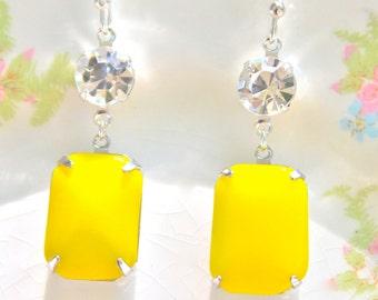 Yellow Rectangle Silver Setting Swarovski Rhinestone Drop Dangle Earrings - Wedding Earrings, Bridesmaid Earrings, Beach