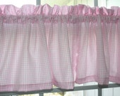 Valance Pink and White Checks with Lining for Nursery Kids Room  New.Two Pieces