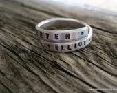 Wrapped Around Ring - handstamped adjustable ring