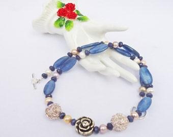 Kyanite, Pearls and Jade Necklace, , Elegant Necklace, Gemstone Necklace, Blue Necklace, UK Seller