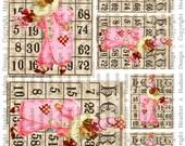 Victorian Vintage Valentine's  Clown Bingo Card Focals ATC Digital Collage sheet Printable