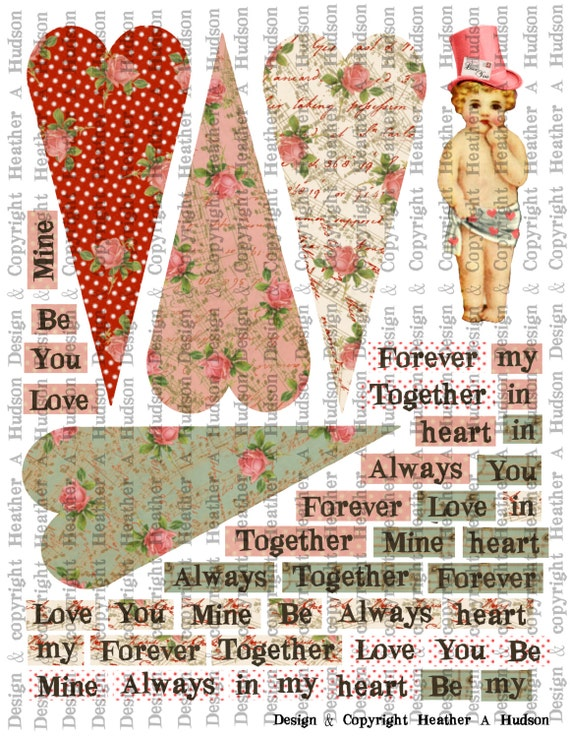 Romantic Focals Cupid Text Boxes for Victorian Vintage Valentine's  Tussie Mussies  Heart Shaped Cone Digital Collage sheet Printable