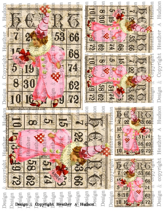 Victorian Vintage Valentine's  Clown Bingo Card Focals ATC Digital Collage sheet Printable