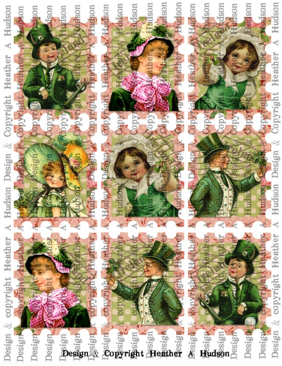Victorian Vintage Shabby Chic light Green & Pink St. Patrick's Day Stamps Tags  Digital Collage sheet Printable