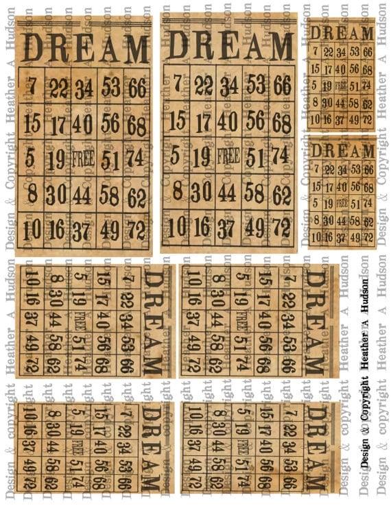 "Vintage ""Dream"" Bingo cards Natural Digital Collage sheet Printable"