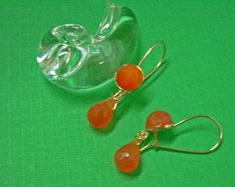 Carnelian Earrings - Double Carnelian & Gold-Filled Dangle Earrings - Gemstone Earrings